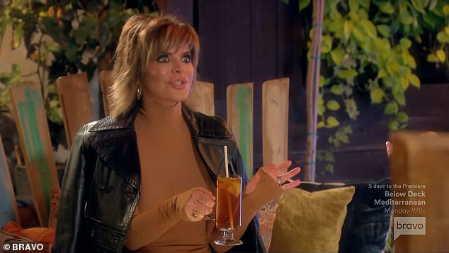 New beginnings:That night Lisa Rinna, 57, and Erika went out to a hotel for a drink. Lisa said she was really excited about her make up launch and the two cheered to 'new beginnings'