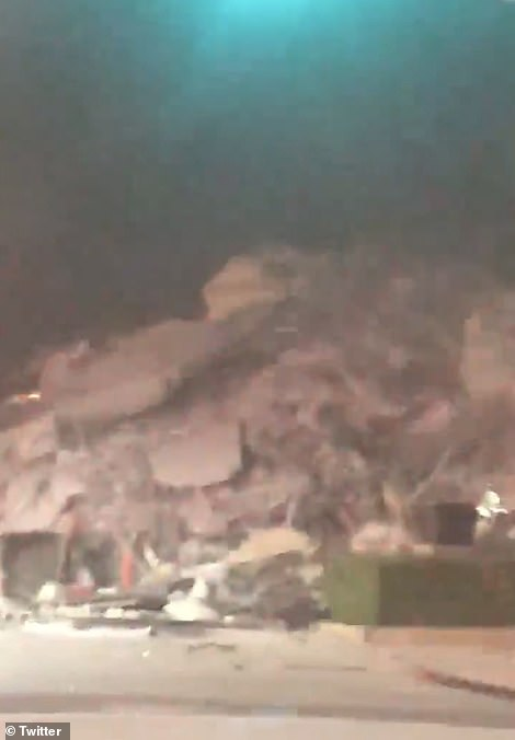 Authorities have not yet provided any information on potential casualties as the situation is ongoing. Pictured: Rubble following the collapse