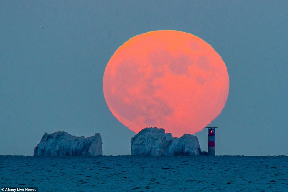 A Strawberry Moon lit up the sky on Thursday, June 24 and is the last supermoon for the year. Pictured is the Strawberry Moon when it appeared in the UK last year - June 5, 2020