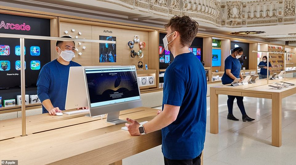 Although the layout resembles the original theater, the product area mimics Apple's iconic product stores