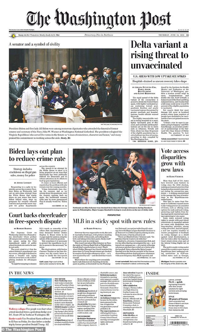 Thursday's Washington Post, which has also avoided mentioning the latest Hunter Biden scandal, despite being the White House hometown paper