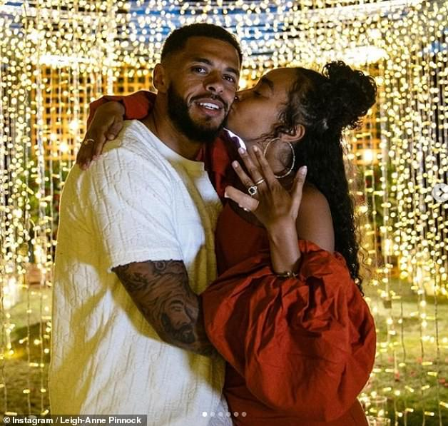 Together:At the end of May last year, Leigh-Anne announced her engagement to Watford striker Andre as the pair celebrated their fourth anniversary as a couple
