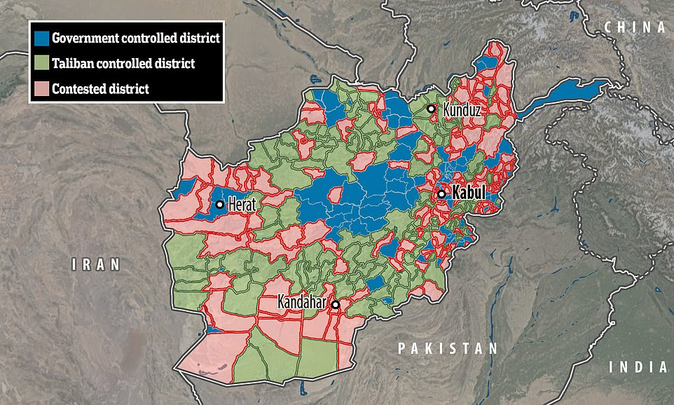 A lighting offensive by the Taliban which began in May has seen the group take control of vast swathes of rural Afghanistan and battle their way to the doorstep of major cities such as Kandahar, Herat and Kabul - with attacks on them expected soon