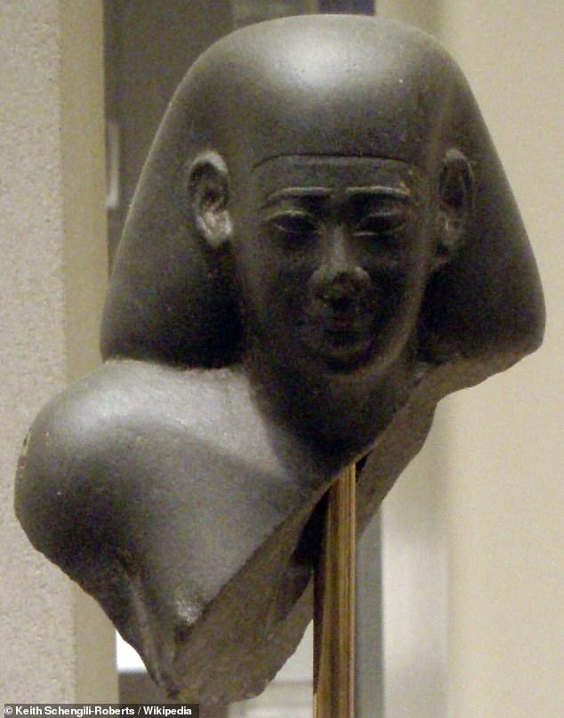 Despite Apries' aid to King Zedekiah of Judah, the Babylonians sacked Jerusalem and destroyed the First Temple. His military failures prompted a coup by general Amasis II, whohad himself declared pharaoh in 570 BC. Pictured: A bust of Amasis at theMetropolitan Museum of Art in New York