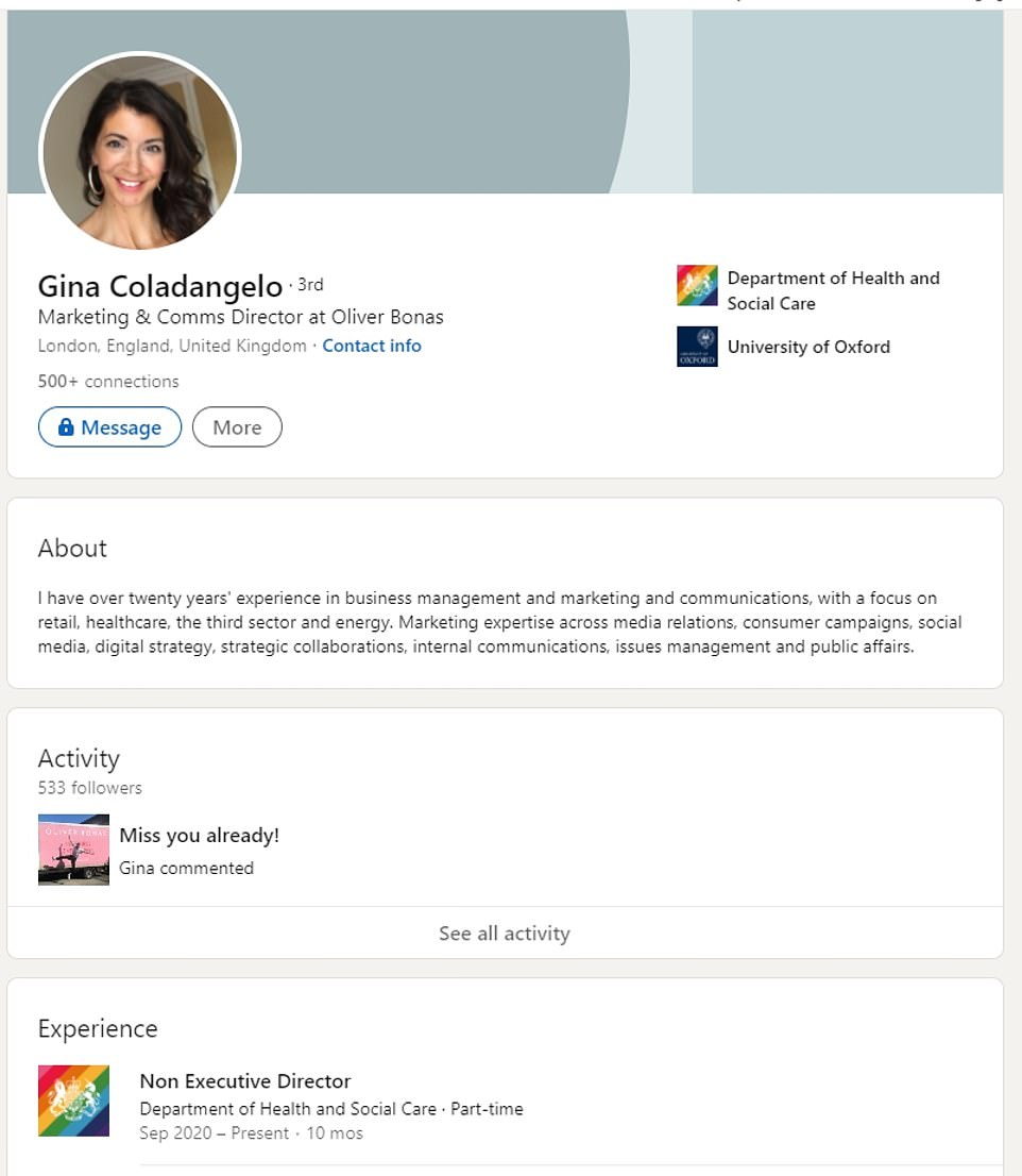 Mrs Coladangelo shows off her Oliver Bonas role on her LinkedIn page and has to 'oversee and monitor performance'