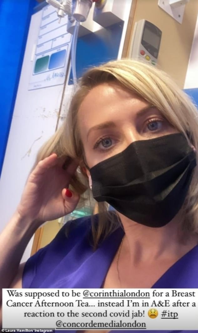 Shock: Laura's post comes after she revealed she had a reaction to her second COVID-19 vaccine last month