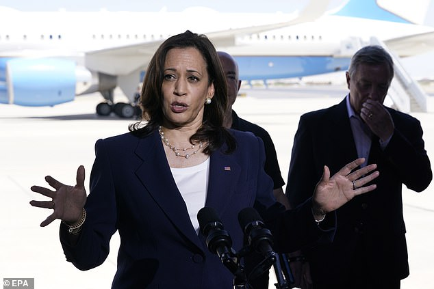 Republicans accused Harris of only visiting the border as a 'pit stop' en route to her California home and waiting until 93 days after President Biden tasked her with tackling the crisis