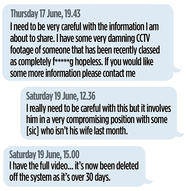 Messages from an anonymous Instagram account.The Mail on Sunday was not one of the outlets approached. It is not known if The Sun obtained the video from the whistleblower or from another source entirely