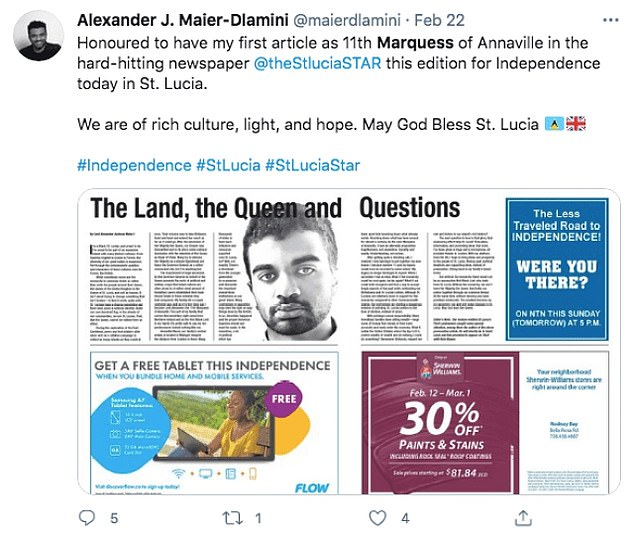 In February, US newspaper St Lucia published a column by Maier where he wrote about British colonialism
