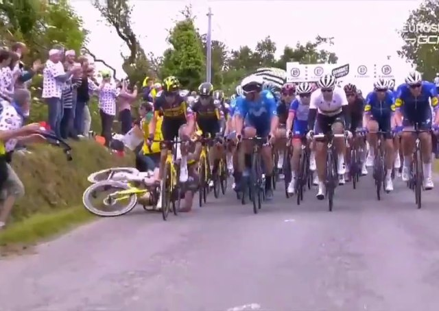 Tony Martin had nowhere to go when the supporter stepped out, looking at the TV cameras and it started the huge pile-up