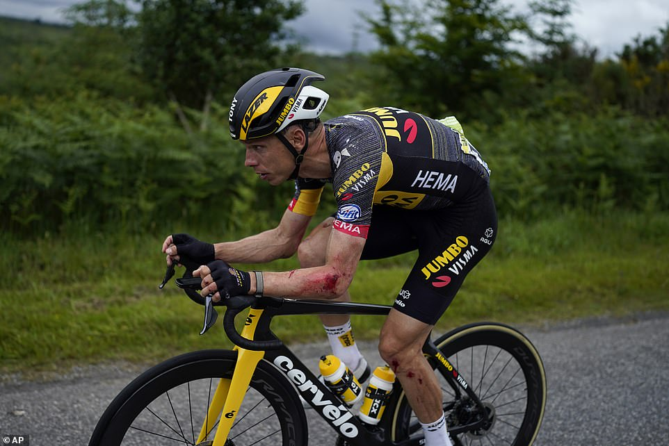 Martin was the man brought down initially, left with some road rash on his left side but he got back on his bike to ride
