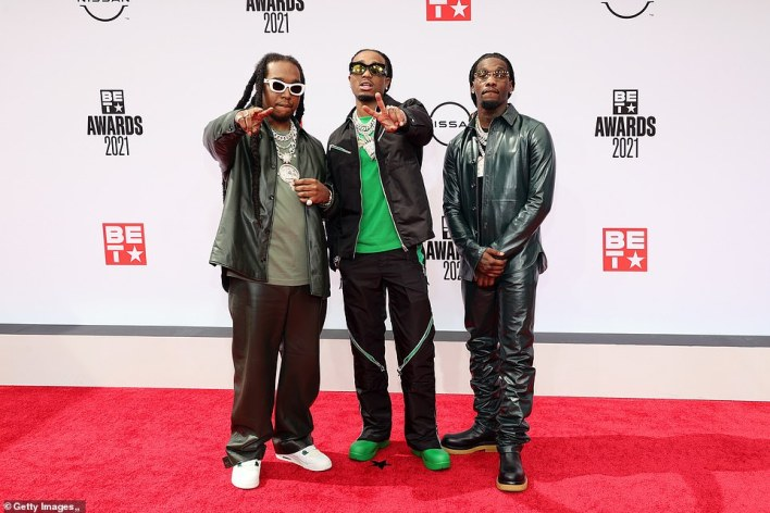 Hitting a fashion high note! Migos members Takeoff, Quavo, and Offset were exuding cool in their stylish awards show looks