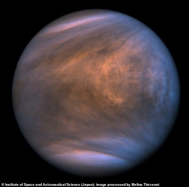Image of Venus showing its acidic clouds as taken by the Ultraviolet Imager of the Venus Climate Orbiter Akatsuki on November 27, 2018