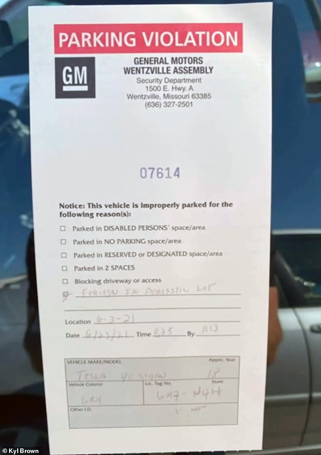 A Tesla driver received a ticket for parking a 'foreign' car in a lot at GM factory in Missouri designated for 'domestic cars,' despite the fact that his Model 3 was made in the US