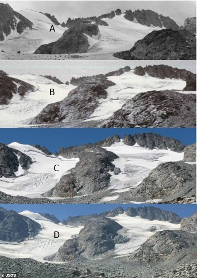 The growing season has also increased by nearly two weeks and average snowfall has decreased by 23 inches, all of which have happened since 1950. Image A was taken in 1935, B in 1988, C 2006 and D in 2015