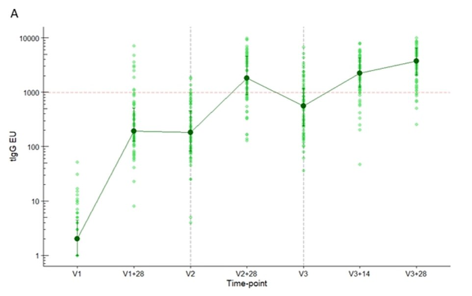 The green vertical lines show participants' antibody levels when they were given the first vaccine (V1), 28 days after that (V1+28 days), the second jab (V2), 28 days after that jab (V2+28 days), the third booster injection (V3), 14 days after that (V3+14) and 28 days after the booster (V3+28). The findings show that the antibody response increased after each jab and were at their highest, by a small margin, 28 days after the booster injection
