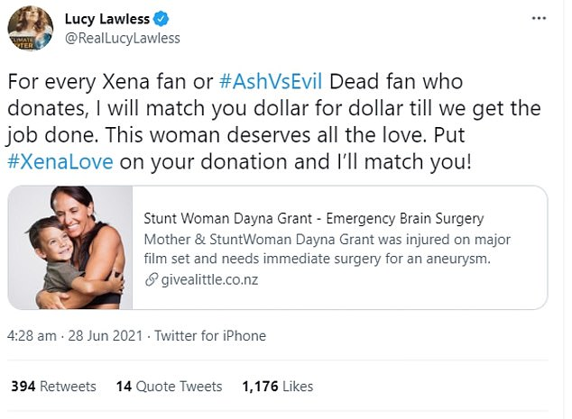 The Give a Little page was shared on Twitter by Lucy Lawless to her over 300,000 followers. The actress pledged to match every dollar donated to Ms Grant, and urged all fans of Xena: Warrior Princess to donate