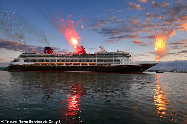 The 'Disney Dream' cruise ship will not be able to resume operations in the near future after a safety test run had to be cancelled due to 'inconsistent' COVID-19 test results among staff. Pictured: A Disney Cruise ship docking at Port Canaveral, Florida