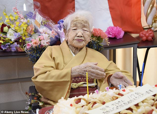 Local officials want to have her birthday recognised so that she can claim the oldest living person title, overtaking the current record holder, Kane Tanaka of Japan (pictured in 2020), who was born six months later than Ms Arslan, on 2nd January 1903