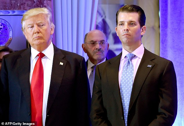 Weisselberg (c) helped run the Trump Organization along with Donald Trump Jr. (r) and Eric Trump when Donald Trump took the White House
