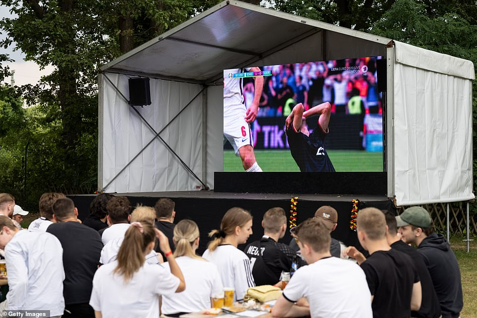 Many German fans were forced to watch the Euros clash from home due to the pandemic, with the BBC reporting the atmosphere in a Berlin beer hall was quiet following the defeat