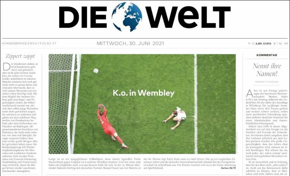 Die Welt ran a sobering front page image of Harry Kane scoring past Manuel Neuer for the 'KO in Wembley'