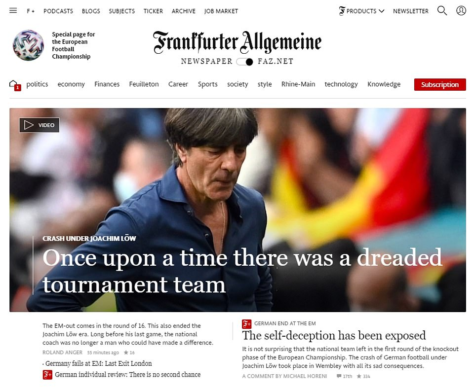 'Once upon a time there was a dreaded tournament team':The homepage of Frankfurter Allgemeine Zeitung (pictured), Germany's most internationally read newspaperbemoaned the national team's fall from elite status