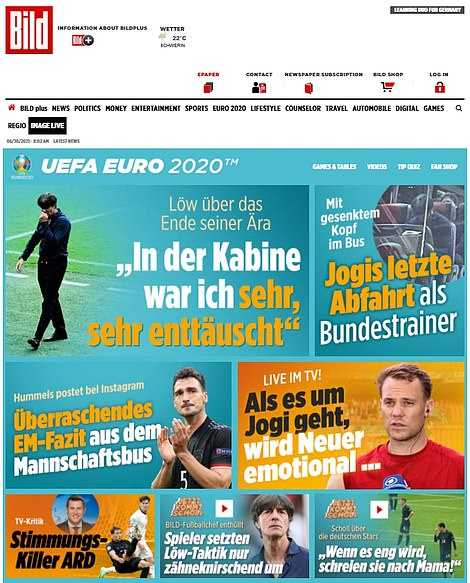 The front page of Bild's website showed a dejected Löw walking away from the Wembley pitch.