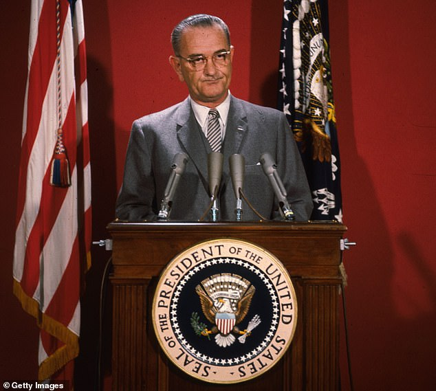 US presidents with more narcissistic personalities are seven times more likely to start conflicts with rival powers than less egotistic leaders, a study has concluded. Pictured: Lyndon B. Johnson (1963–1969), who a political psychologist has determined was the most narcissistic US President who held office between the years 1897 and 2009