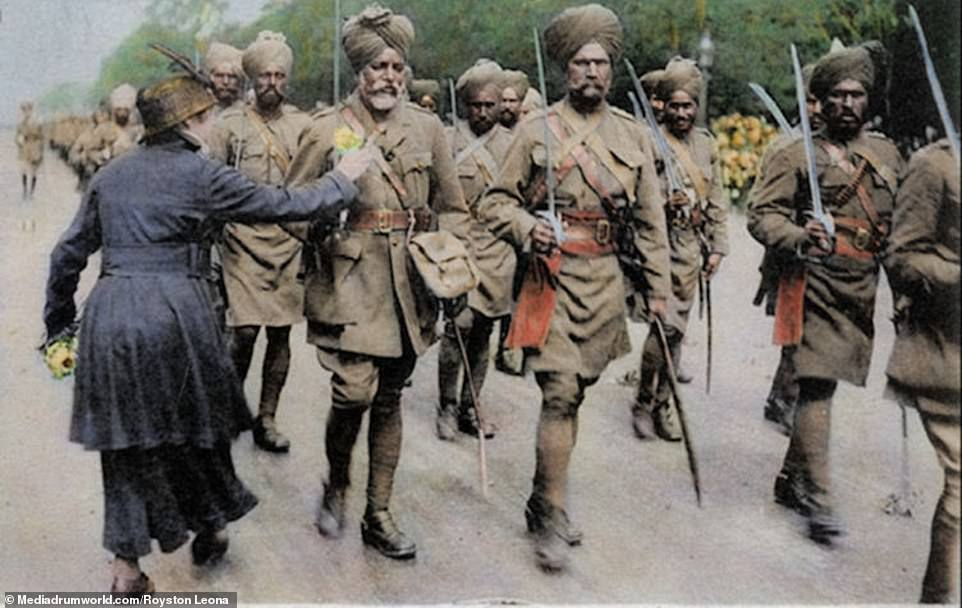 Sikh soldiers in Paris in 1916. More than a million Indian troops served in the conflict, of which 62,000 died and another 67,000 were wounded. The Indian Army fought along the Western Front and in campaigns in Africa