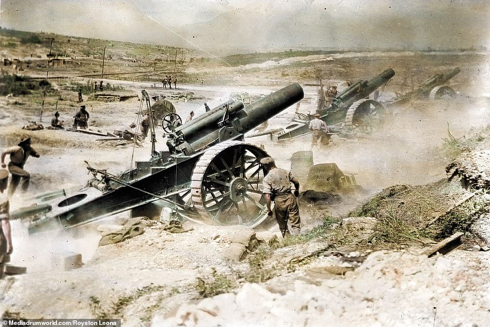 British artillery bombard the German position on the Western Front during the Battle of the Somme.The British and French joined forces to fight the Germans on a 15-mile-long front, with more than a million-people killed or injured on both sides. The Battle started on the July 1, 1916, and lasted until November 19, 1916. The British managed to advance seven-miles but failed to break the German defence. On the first day alone, 19,240 British soldiers were killed after 'going over the top' and more than 38,000 were wounded. But on the last day of the battle, the 51st Highland Division took Beaumont Hamel and captured 7,000 German prisoners. The plan was for a 'Big Push' to relieve the French forces, who were besieged further south at Verdun, and break through German lines. Although it did take pressure off Verdun it failed to provide a breakthrough and the war dragged on for another two years.
