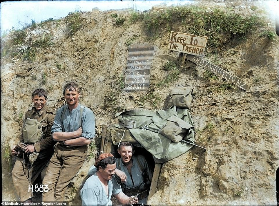 New Zealand troops on the Western Front smile for the camera from their trench. Following a period of R&R after the disaster at Gallipoli, the newly formed New Zealand Division set off for France in April 1916, first to the Flanders region to gain trench experience, where they spent three months guarding the 'quiet' sector of the front atArmentières. They deployed to the Somme in September where a nightmarish landscape of destruction on a scale never before seen was to greet them.Eighteen thousand troops went into action, nearly 6,000 were wounded and 2,100 were killed