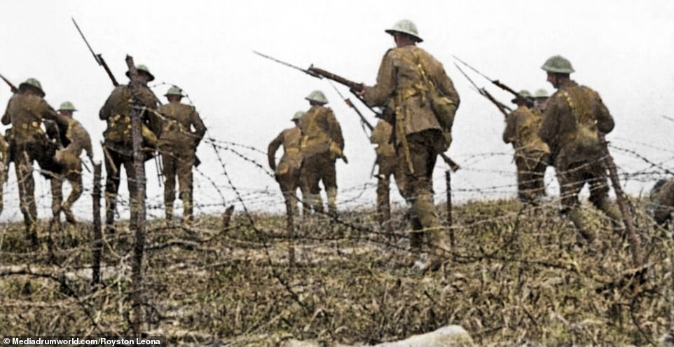 Troops rising from the trenches to battle. The Battle of the Somme was the bloodiest of the First World War and lasted for 141 days. On the first day alone, more than 19,000 British soldiers were killed and 38,000 were wounded.