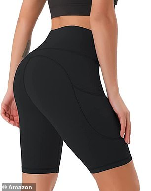 The shorts have a thick high waistband that 'wraps around the tummy' for a flattering fit and won't 'roll up or down' during exercise