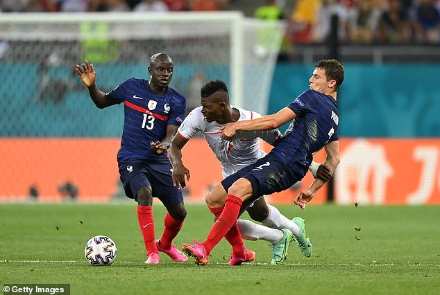 Breel Embolo (centre) has been a handful for defenders to deal with all tournament