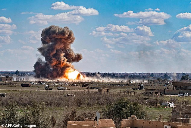 US air strikes rain down on ISIS last stronghold at Baghouz in March 2019