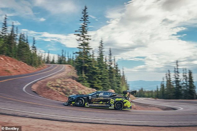 British luxury car manufacturer Bentley tested out its futuristic biofuel in a race that saw its modified Continental GT3 climb up a 12,780-foot mountain in the 99th Peaks Pike Hill Climb competition in Colorado