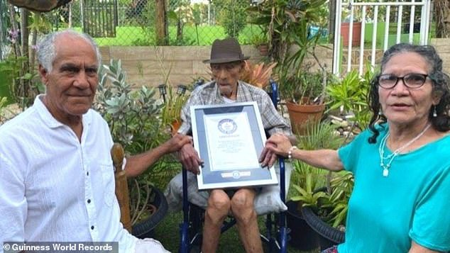 Guinness World Records recognized Emilio Flores Márquez, of Puerto Rico, as the oldest living man. His confirmed age is 112 years and 326 days, He is pictured with his son Emilio and daughter Tirsa, both of whom live with him in the city of Trujillo Alto