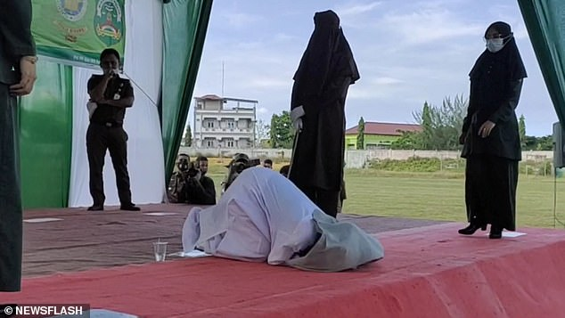 The woman, whose name was not disclosed, and her male lover each received 100 lashes in the city of Lhokseumawe on Monday