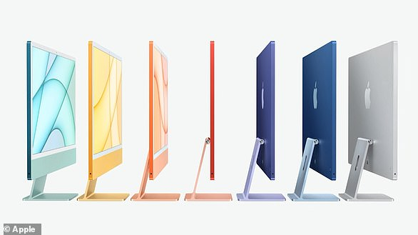 The new iMac is available in seven different vibrant colors and includes a 1080p FaceTime HD camera, studio-quality mics, and a six-speaker sound system
