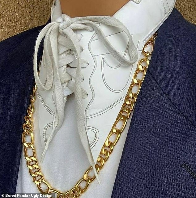 A fashion blogger from Japan hared this collar meant to look like a white sneaker, complete with the laces
