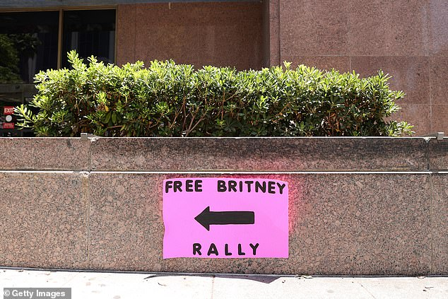 Signs outside the courthouse in Los Angeles directed fans to the gathering