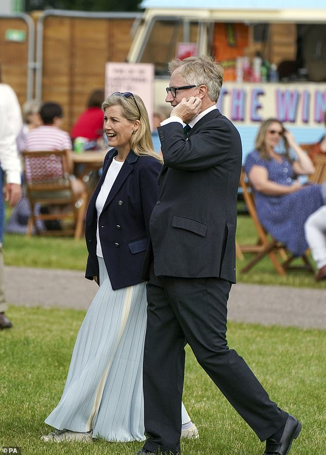 Her Majesty's daughter-in-law Sophie, 56, attended the second day of the annual equestrian event dressed in a floor-length mint green pleated skirt and a navy blazer