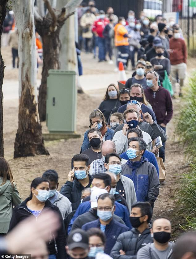 And today, Australians in New South Wales, where there are now 235 active Covid cases, were pictured queuing to get vaccinated as Australia plays catch up