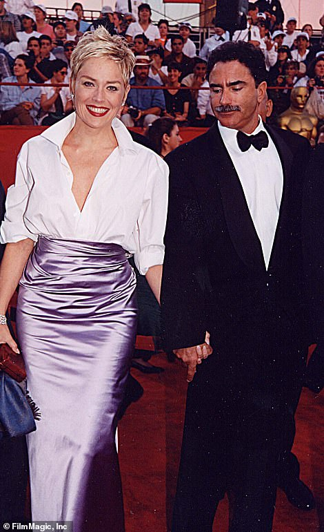 On the red carpet: Sharon Stone wore her husband's Gap shirt to the Oscars in 1998