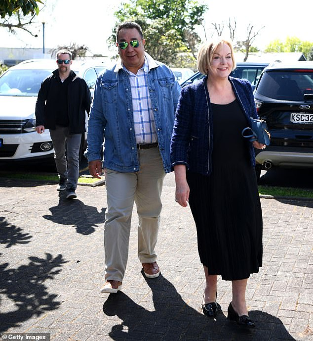 In an extraordinary attack on Judith Collins, Ardern implied that the opposition leader was a 'Karen' - a middle-class white woman who considers herself highly and is entitled. Pictured: National Party leader Judith Collins and husband David Wong Tung