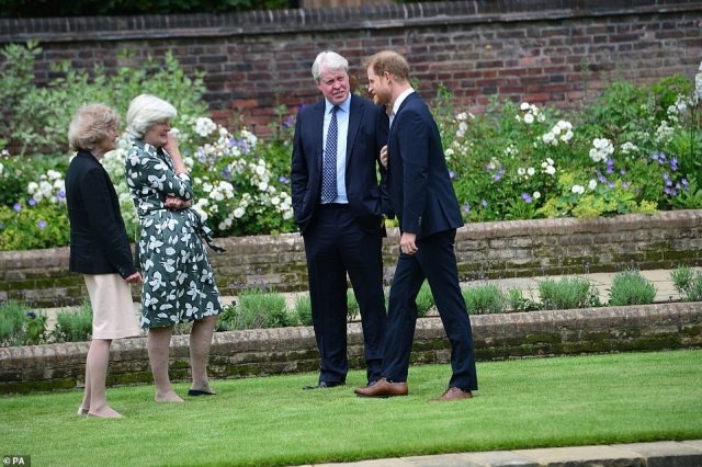 Lovely to see you! Prince Harry shared a light-hearted moment with his uncle and aunts during the short event this afternoon