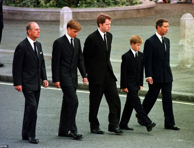 The Duke of Edinburgh, Prince William, Earl Spencer, Prince Harry and the Prince of Wales walking behind Diana, the Princess of Wales' funeral cortege in 1997