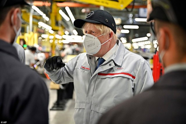 Boris Johnson (pictured on a visit to a Nissan factory in Sunderland) said today it was 'ever clearer' that the vaccines had 'broken the link' between infections and deaths. He added the country was now in the 'final furlong' of lockdown