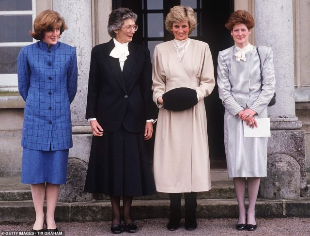 Princess Diana with her sisters Lady Sarah Lady Jane on a visit to their old school, West Heath, in Kent in 1987. They are with their former headmistres
